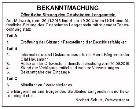 Einladung zur OB Sitzung am 30.11.2016